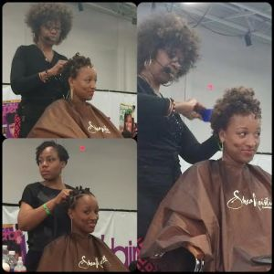 SheaMoisture's Brand Ambassador, Diane C. Bailey, & SheaMoisture's Stylist, Alisha Irene, beautifying my curlz